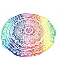 Toalla de Playa Redonda Feather Peacock Round Mandala Tapestry Hippie Hippy Style Throw Bedding