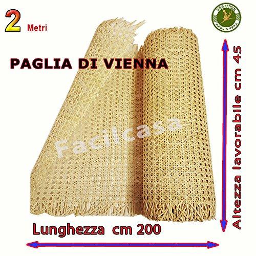 Vendita paglia di vienna, al metro, prima qualita', tessuto in corteccia di giunco colore paglierino naturale, adatto a riparare sedie (2 metri paglia)