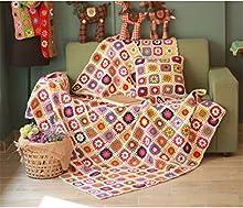 Campo manta de lana hecho a mano tejido a ganchillo nórdica alfombrillas, ropa de cama de flores de, toalla de alfombra, sofá cama, sofá cojín de punto, alfombra