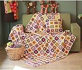 Sconosciuto Campagna Nordic Tessuto Handmade Crochet Coperta a Maglia, Lana, Asciugamano Divano Letto, Divano, Cuscino, Fiore tappetini, Biancheria da Letto Tappeto, Lana, Red, 150x150cm