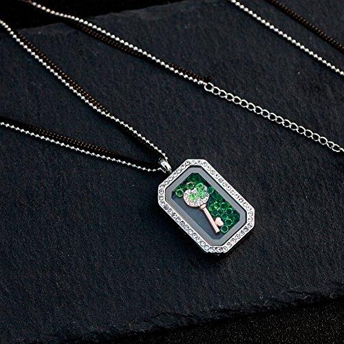 MURTOO Bijoux Femme Sautoir amovible Collier Flottant Plaqué Or Blanc avec pendentif en Cristal NEUF livraison gratuite Couleur Pour Le Cadeau (Longueur de la chaîne:80+5cm / 43+6cm) Rectangle (Clé)