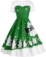 Weihnachtskleid,Transwen Damen Vintage O-Neck Printed Kurzarm A-Linie Swing Kleid Weihnachtsdeko Cocktailkleid Weihnachtsmann Festlich Kleid