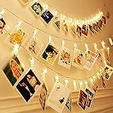 Cadenas de Luces,Gledto LED String Light de Baterías forma de Clothespin Aliler de la Ropa Romántica Fotos Clip Luces de Cadenas LED para Navidad,Fiestas,Bodas,Jardines,Compleaños,Festivales Decorados