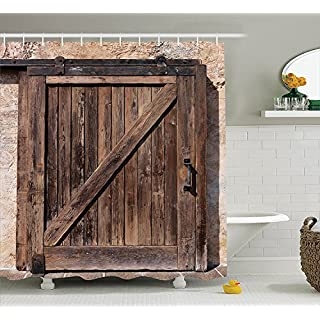 Rustic Decor Shower Curtain, Aged Sliding Door with Rustic Texture Authentic Vintage Architectural Rural Decorative Print, Fabric Bathroom Set with Hoooks, 84 Inches Extra Long, Brown