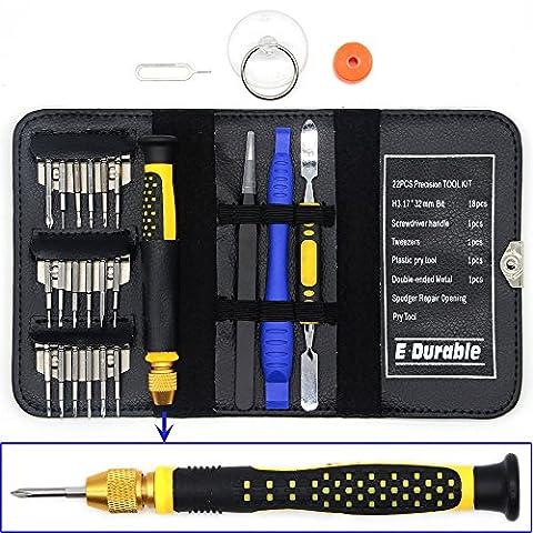 E-durable Pro Bit Driver Kit, Precision Electronics Outil multifonction Jeu de tournevis, sûr Outil d'ouverture, avec ESD pince à épiler, portable, double embout Métal Spudger Levier, plastique, etc.