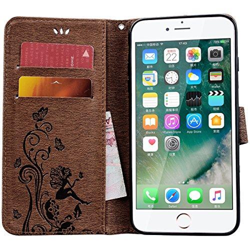 HB-Int PU Leder Hülle für iPhone 7 Plus Wallet Lederhülle mit Handschlaufe Kreditkartenfächer Standfunktion Handytasche Drucken Weinstock Schmetterling Mädchen Muster Schutzhülle Magnetverschluss Lede Braun
