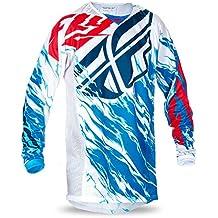 Fly Racing Kinetic Motocross/Mountain Bike Jersey Kids Relapse Rojo de color blanco de color azul, niño, color azul, tamaño YS