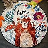 JameStyle26 Kinder Spielmatte Aufräumsack Spieldecke Teppich Kinderzimmer Kinderteppich Matte Teppich (Bär)