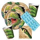 Unbekannt 33-Teiliges Party-Set Dinosaurier - Dino - Alarm - Teller Becher Servietten Silikonform für 8 Kinder