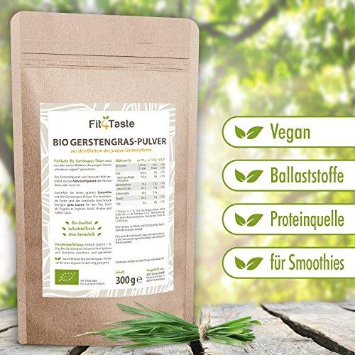 Fit4Taste Bio Gerstengras Pulver | Superfood | Bio Qualität | Ballaststoffreich | 300 g -