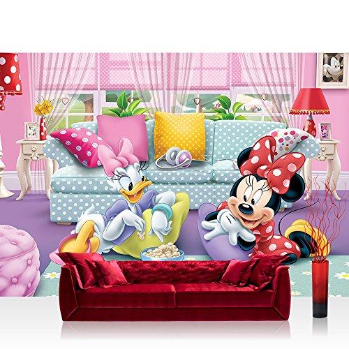 Fototapete 368x254 cm PREMIUM Wand Foto Tapete Wand Bild Papiertapete - Mädchen Tapete Disney Micky Maus Disney Minnie & Me Kindertapete Daisy pink - no. 2599