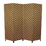 Homestyle4u 4 tlg. Weiden Raumteiler Paravent Spanische Wand braun mit dunkelbraunem Muster
