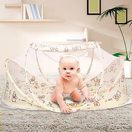 Sinotop Reisebett Reisebettzelt BabyzeltFaltbettTravel-cot Kinderzelt Schlafmatte babybett für Reisen Anti Mosquito (Khaki) (Eisen Park-designs,)