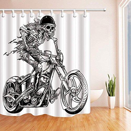 CDHBH Cortina de Ducha de Calavera para Montar en Motocicleta en Color Blanco, Resistente al Moho, Tejido de poliéster, Juego de Cortinas de Baño con Ganchos, 182,88 x 182,88 cm