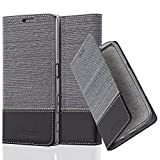 Cadorabo Hülle für Sony Xperia Z5 - Hülle in GRAU SCHWARZ – Handyhülle mit Standfunktion und Kartenfach im Stoff Design - Case Cover Schutzhülle Etui Tasche Book