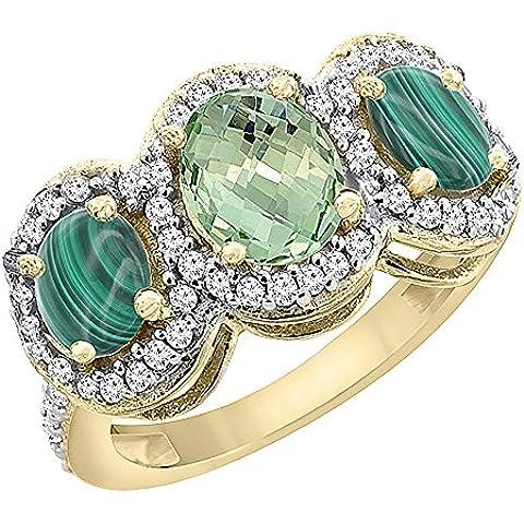 Oro Giallo 14ct naturale ametista verde e malachite 3-Stone Anello Ovale, accento diamante, misura R - Ametista Promise Ring