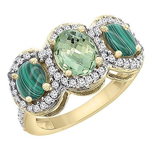 Oro Giallo 14ct naturale ametista verde e malachite 3-Stone Anello Ovale, accento diamante, taglia S - Ametista Promise Ring