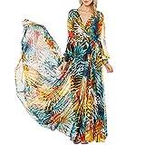 iShine Maxi Kleider Damen Lang Sommerkleider V-Ausschnitt Strandkleider 3/4 Arm Kleider Casual Beachwear (S, Dunkelblau/Chiffon)