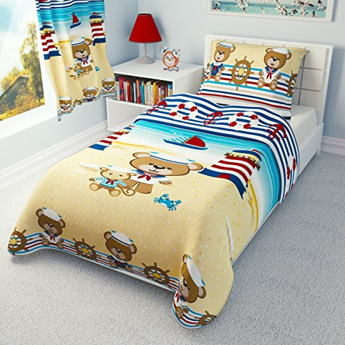 babies-island Children's Nautical Bedding – Girls Boys Duvet Cover and Pillowcase Cot/Cot bed/Toddler – Red Sailor (120×150 cm)