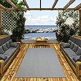 Pergamon In- und Outdoor Teppich Flachgewebe Carpetto Uni Blau Mix in 4 Größen
