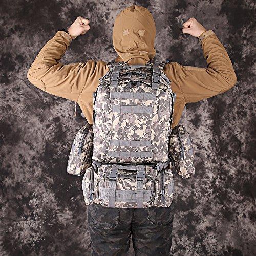 TTLIFE Multifunktion Assault Rucksack (55l), Outdoor Wanderrucksack/Reisetasche/ Trekkingrucksack mit abnehmbaren MOLLE Taschen, wasserdicht, perfekt für Sport im Freien, Wandern, Klettern, Radfahren, ACU