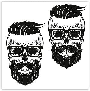 Skinoeu 2 Stück Vinyl Aufkleber Autoaufkleber Skull Schädel Modern Bart Mit Brilletotenkopf Funny Horror Stickers Auto Moto Motorrad Fahrrad Helm Fenster Tür Tuning B 108 Auto