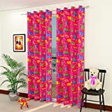Homefab India Polyester 2 Piece Animal Design Kids Curtain - 7 Ft, Pink