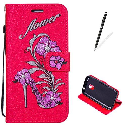 KaseHom Case for(Moto G4 Play) Brieftasche Fall+[Frei Stift] Schöne Blumen Stöckelschuhe Entwurf Folio Flip Magnetisch [Card Slots/Lanyard Strap] Premium PU Leder Schutzhülle-Rot