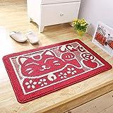 Pragoo linda gato felpudo retro Antideslizante alfombra de entrada no deslizarse alfombra de cocina estera alfombra de baño 40 * 60cm (rojo gato)