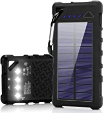 FKANT Waterproof Solar Charger | Portable 16000mAh Dual USB Power Bank | IPX7 Waterproof External Battery Pack with 4LED Flashlight | For iPhone iPad Samsung Android Phones