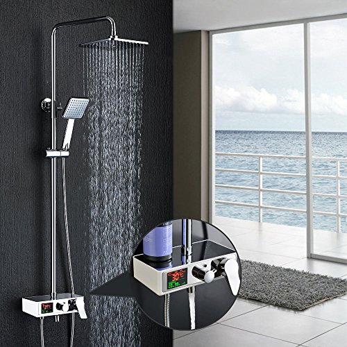 Homelody 3-Funktion Duschsystem mit LCD Duschset Duscharmatur Dusche Regendusche inkl.Armatur Rainshower Handbrause Duschstange für Bad/Badewanner