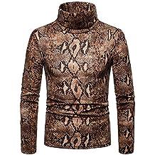 Pull d hiver à col roulé pour hommes T-shirt à manches longues Top Blouse  Casual Slim Sweat-shirt Motif de peau de serpent épais couche de base  thermique ... f2314fe76de