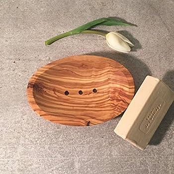 Olivenholz Seifenschale Mini für Gästeseife Seifenablage Olivenholzseifenschale