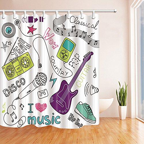 Hip Hop Music Decor Shower Curtains By Kotom Guitar Shoe And Radio
