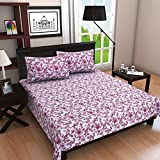 "Linenwalas 100% Soft Cotton King Size 300Tc Pink Floral Printed White Bedsheet With 2 Pillow Covers - 100""X108"""