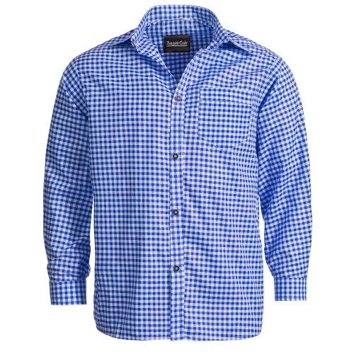 Herren Set Trachten Lederhose hellbaun Kurz mit Trägern + Trachtenhemd Blau Weiß Kariert 48-S - 5