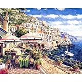 [Marco de madera]Pintura por números Bricolaje DIY Pintura al óleoImpresión de la lona Mural Decoración hogareña 40cm×50cm - La ciudad costera de Venecia de vacaciones.