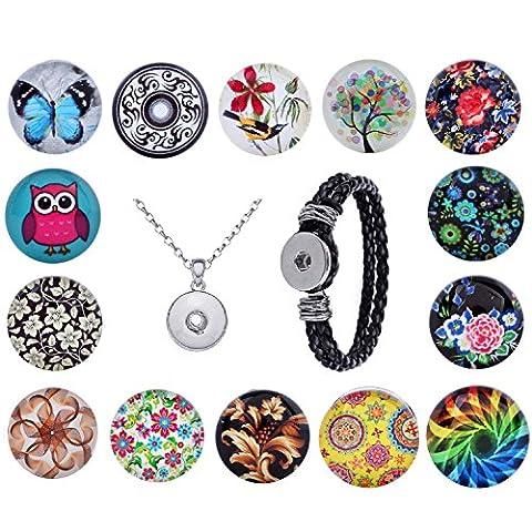 Morella Damen Click-Button Set 14 Druckknöpfe Hippy Live mit Halskette Edelstahl 70 cm und Armband