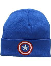 Bonnet en laine Captain America - Le bouclier - Bonnet Marvel Comics - Captain America - Shield - Super-héros - avec logo brodé - bleu - Design original sous licence - LOGOSHIRT