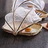 bulary handgeflochtenem Korb bug- Staubdicht Sun Korb Picknick Korb mit Gaze Lebensmittel Korb, geflochtener Mesh Lebensmittel Cover 34x 29cm
