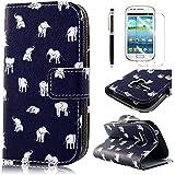 PhoneCase Klein Elefant Muster Bottom Series PU Leder Wallet Schutzhülle mit Display Schutzfolie für Samsung Galaxy S3 mini inkl. Stylus Stift schwarz/weiß