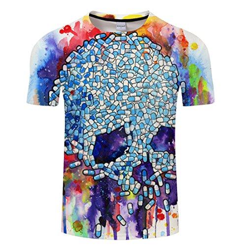 YICHUN Homme Femme Tops T-Shirt de Loisir Tête de Mort Crâne Tunique Tees Chemisier Blouse Maillots de Sport