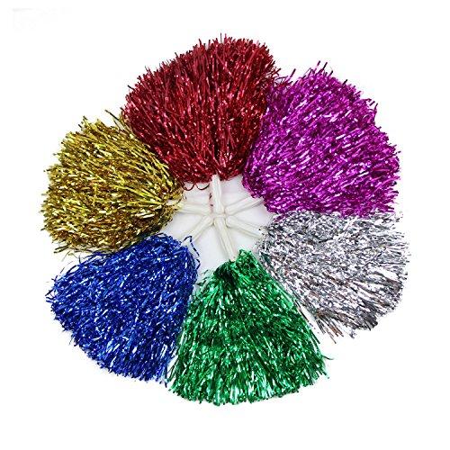 VENI MASEE Collection 1 Paar Gerade Hand Shank Cheerleader Pompons, Preis/2 Stück, 0.025 kg/Stück, 6 Farben