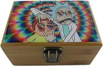 "Rick Morty Herb Stash Box Combo - 2"" inch Grinder, 2.5"" inch Storage Jar Labels"