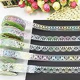 Deko Glitzer Spitze Tape Colorful Sticky Malerkrepp Masker Klebeband DIY Craft Dekorationen Scrapbooking Dekorieren Aufkleber zufällige Muster Set von 5(bunt glitter 1)