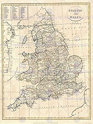 1799 CLEMENT CRUTTWELL MAP ENGLAND VINTAGE POSTER AFFICHE ART PRINT 12x16 inch 30x40cm 2880PY