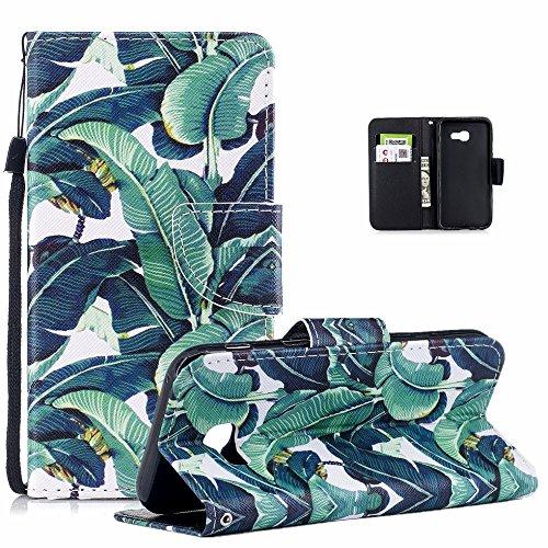Vectady per Samsung Galaxy A5 2017 A520 Cover, Custodia Case Pelle Porta Carte Magnetica Flip Cover Custodia Portafoglio Libro Antiurto Protettiva per Samsung Galaxy A5 2017 A520,Le Foglie