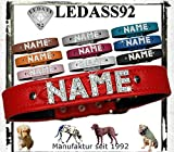 LEDASS92 Hundehalsband mit Namen Strass Halsband Name Strassbuchstaben Swarovski Elements (S - 23cm - 30cm Halsumfang verstellbar, rot)