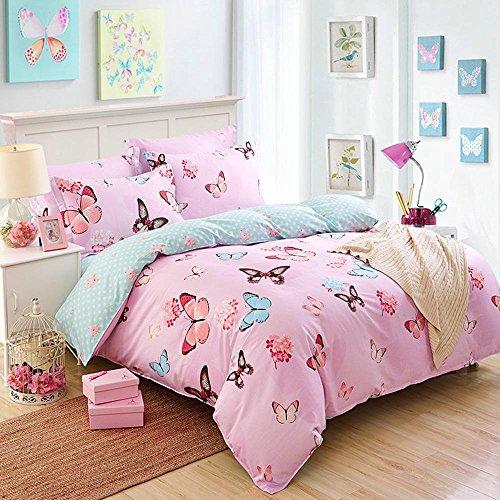 Cotton flower Double bedding Bedroom Flat sheet Plain Dyed Duvet Cover Sets 4pcs 1 Quilt cover, 1 Bed sheets, 2 Pillowcase , 003 , 220x240cm