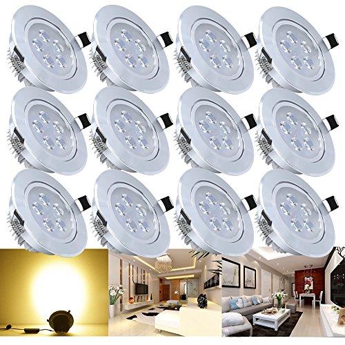 Hengda® 12 x 5W LED Warmweiß 2800-3200k LED Spot Decken Einbauleuchte Leuchte Einbaustrahler Set Lampen Leuchtmittel